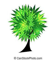 abstratos, árvore, ilustração, cannabis, vetorial, fundo