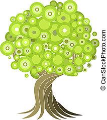 abstratos, árvore, ilustração