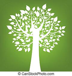 abstratos, árvore, ligado, experiência verde