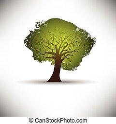 abstratos, árvore, ligado, um, experiência cinza