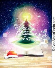 abstratos, árvore, natal, cintilante