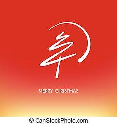abstratos, árvore, natal, feliz, linha, círculo, vermelho