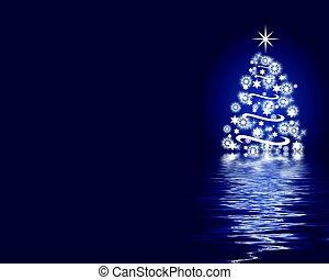 abstratos, árvore natal, fundo, azul