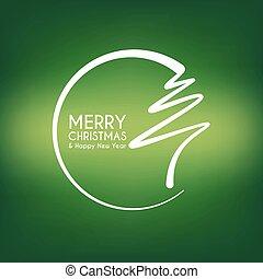 abstratos, árvore, natal, verde, feliz, linha, círculo