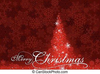 abstratos, árvore, natal, vermelho