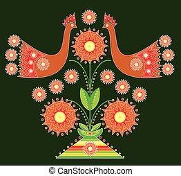 abstratos, árvore, pássaro