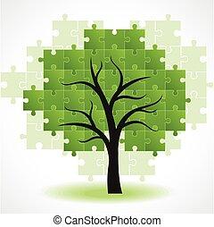 abstratos, árvore, quebra-cabeça