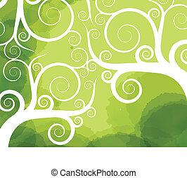 abstratos, árvore, redemoinho, vetorial, fundo, para, cartaz, ou, cartão
