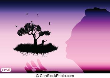 abstratos, árvore, símbolo