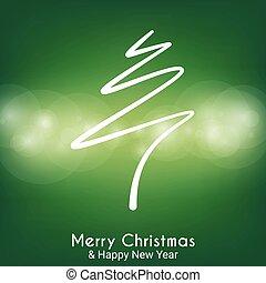 abstratos, árvore, verde, feliz, linha, natal