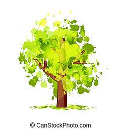 abstratos, árvore verde, para, seu, desenho