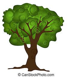 abstratos, árvore, verde