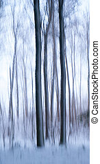 abstratos, árvores, em, inverno