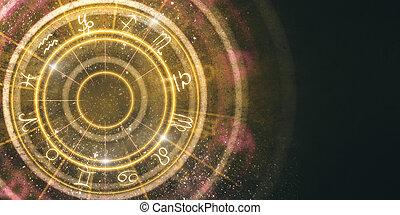 abstratos, âmbar, signos, roda, fundo
