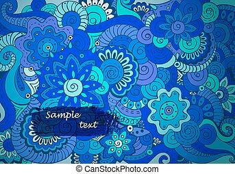 abstratos, étnico, floral, doodle, padrão, em, vector.