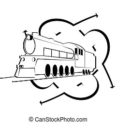 abstratos, ícone, antigas, locomotiv