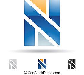 abstratos, ícone, para, carta n