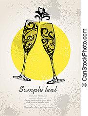 abstratos, óculos champanha
