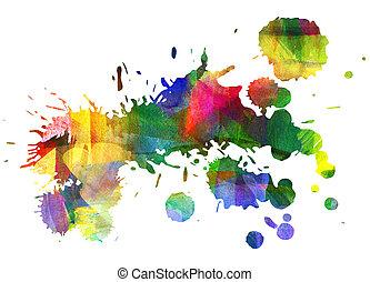 abstratos, óleo, painting., blot., sujou, stain., blob