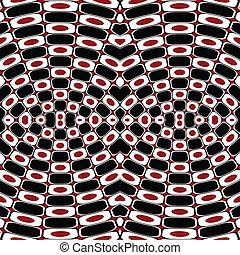 abstratos, óptico, efeito, com, pretas, branca, e, vermelho