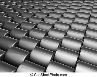 abstratos, 3d, render, múltiplo, prata, cromo, cilindro,...