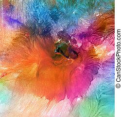 abstratos, acrílico, e, aquarela, pintado, experiência.