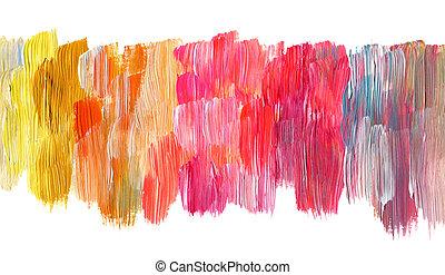 abstratos, acrílico, mão, pintado, fundo