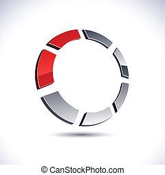 abstratos, anel, icon., 3d
