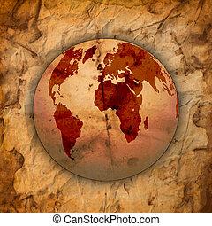 abstratos, antigas, grungy, papel, e, mapa mundial, fundo, com, textura, espaço, para, seu, texto