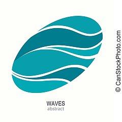 abstratos, aqua, onda, água, oval, logotipo, icon., design.