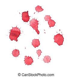 abstratos, aquarela, aquarelle, mão, desenhado, vermelho,...