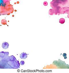 abstratos, aquarela, arte, mão, pintura, branco, fundo