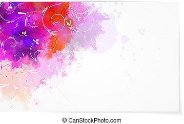 abstratos, aquarela, fundo, com, florals