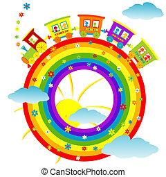 abstratos, arco íris, com, trem brinquedo