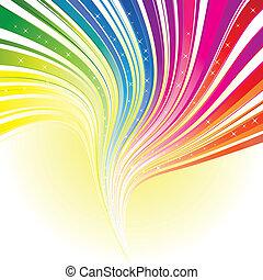 abstratos, arco íris, cor, listra, fundo, com, estrelas