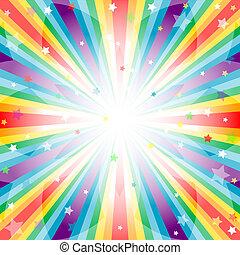 abstratos, arco íris, fundo, com, raios
