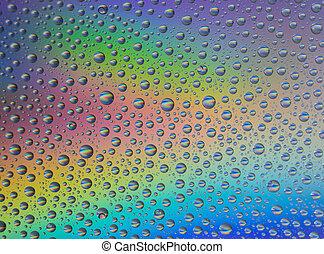 abstratos, arco íris, gotas, fundo