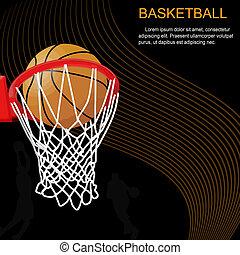 abstratos, aro, basquetebol, fundo, bola
