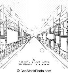 abstratos, arquitetura, desenho