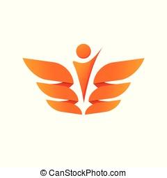 abstratos, asas, com, pessoa, silueta, vetorial, logotipo, conceito, de, liberdade, cuidados de saúde, brasão, logotype, isolado, branco, fundo, clipart