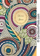 abstratos, asiático, étnico, floral, retro, doodle, padrão