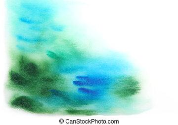abstratos, azul, aquarela, verde, borrões, background:, mão, desenhado
