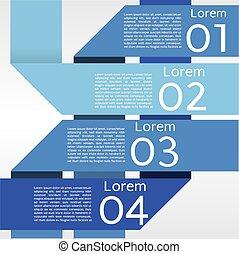 abstratos, azul, bandeiras, em, quatro, step.