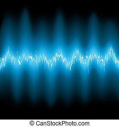 abstratos, azul, brilho, frequência, waveforms., eps, 8