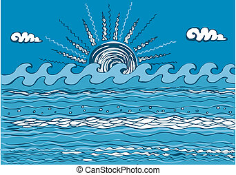 abstratos, azul, ilustração, mar, wave., vetorial