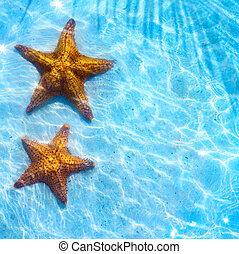 abstratos, azul, mar, praia, fundo