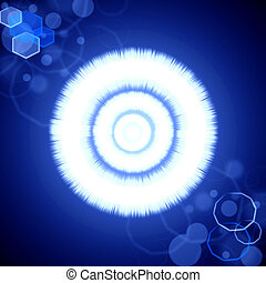 abstratos, azul, radiance, fundo, com, chama lente