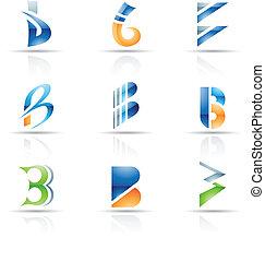 abstratos, b, letra, ícones