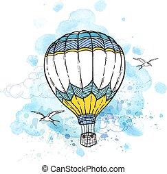 abstratos, balloon, fundo, ar
