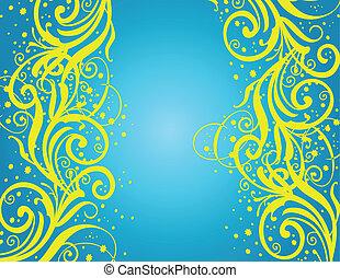 abstratos, blue-yellow, fundo